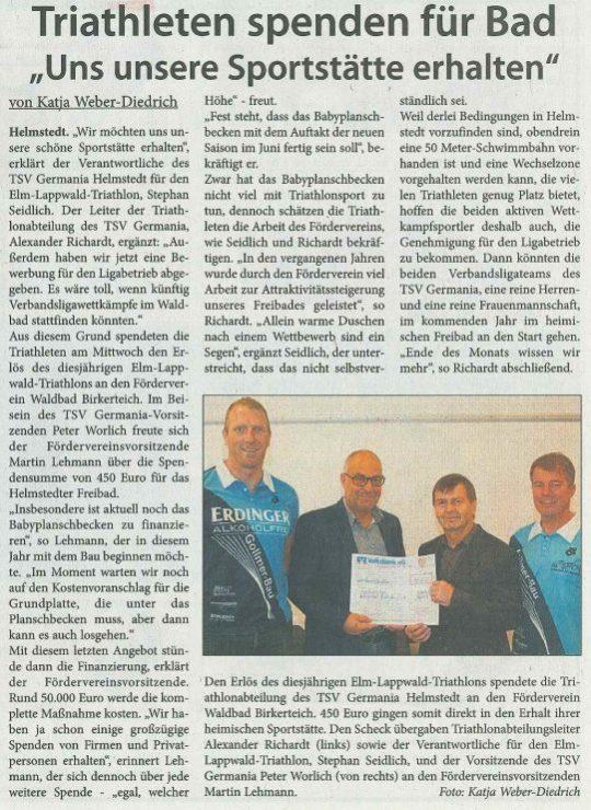 TSV Helmstedt -Triathleten spenden für das Waldbad