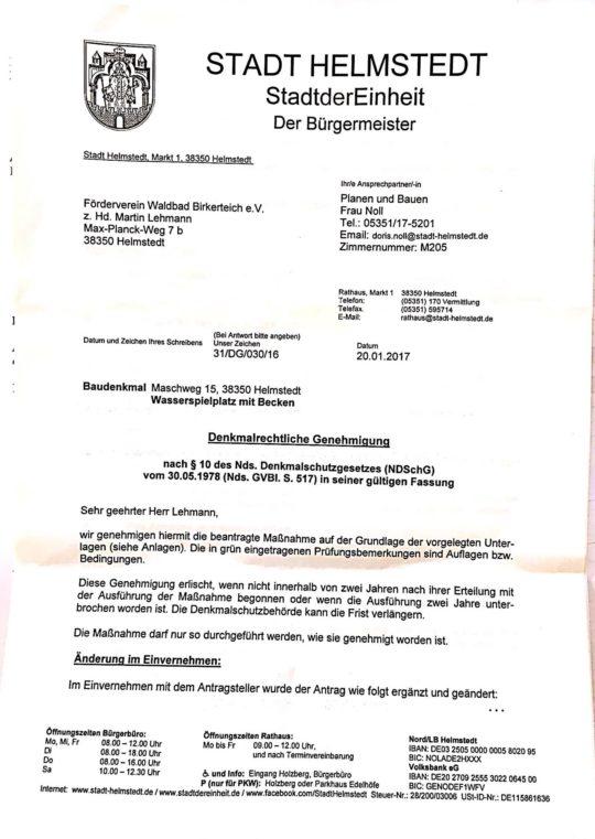 Stadt Helmstedt erteilt Genehmigung für den Bau des Babybeckens für das Waldbad Birkerteich