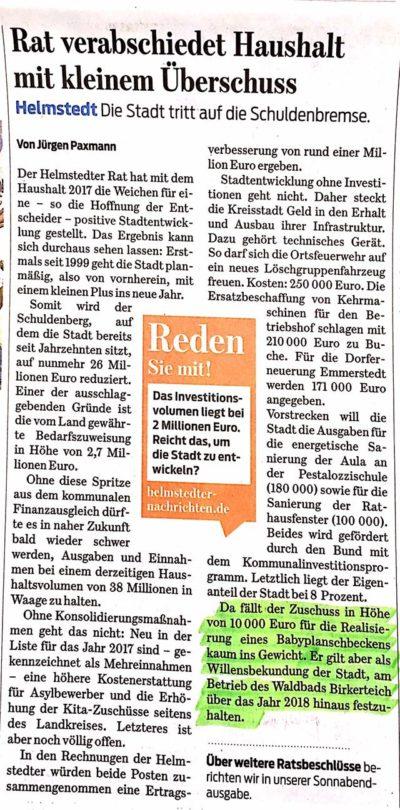 Rat bewilligt Zuschuss in Höhe von 10.000Euro für das Babybecken im Waldbad